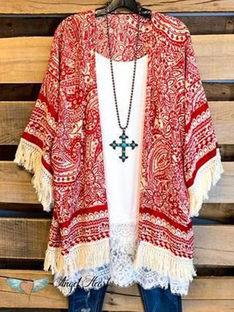 Red Floral Shift Half Sleeve Cotton-Blend Outerwear