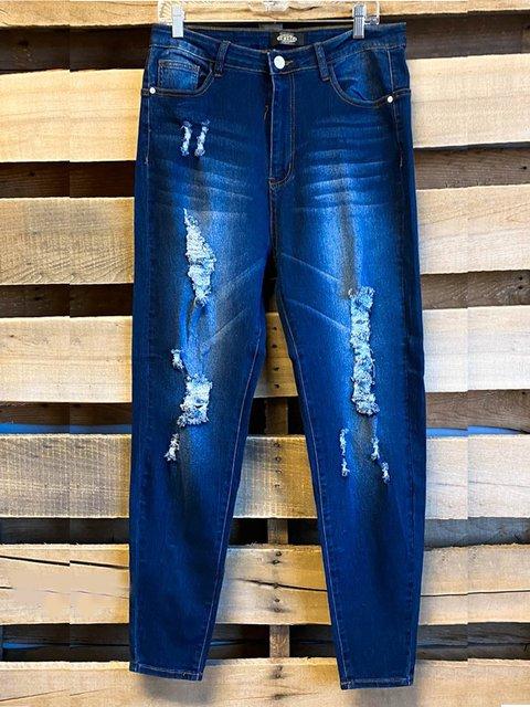 Blue Cotton-Blend Vintage Shift Pants