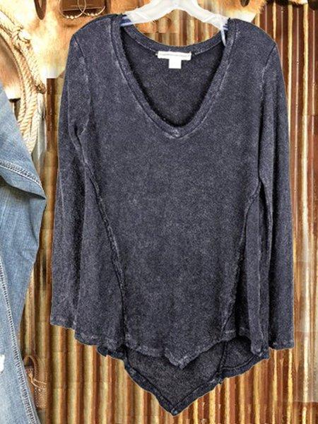 Plain V Neck Long Sleeve Shift Shirts & Tops