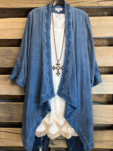 Blue Floral Shift 3/4 Sleeve Shirts & Tops