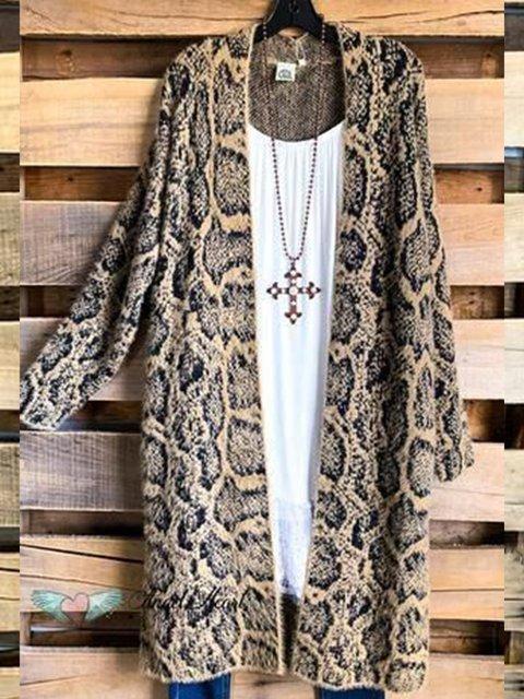 Leopard Leopard Cotton-Blend 3/4 Sleeve Outerwear