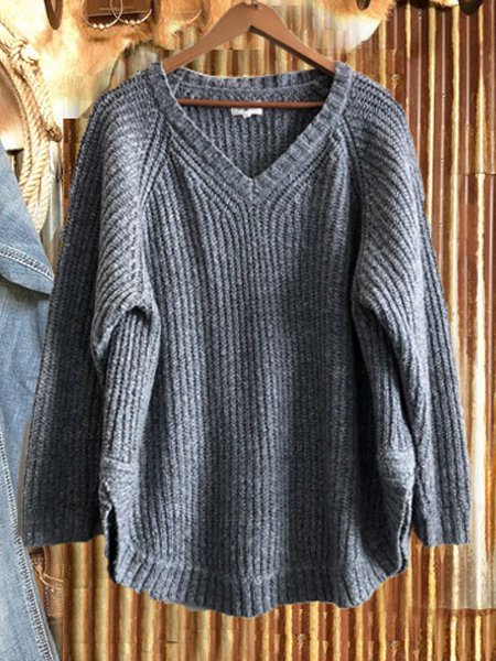 Crew Neck Casual Cotton-Blend Shift Sweater