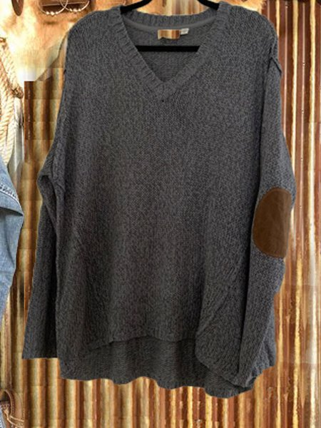 Cotton-Blend Casual V Neck Sweater