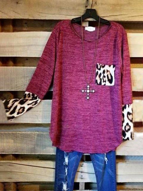 Purple Leopard Casual Shirts & Tops