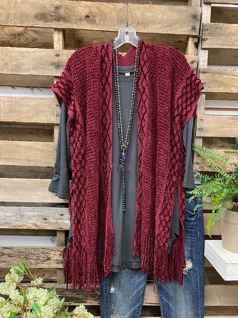 Casual Kimono with Fringe Bottom Knitted Vest Cardigan
