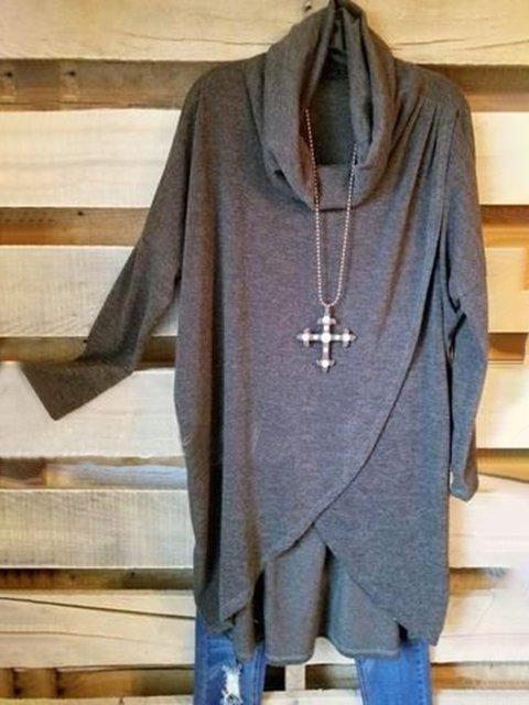 Deep Gray Long Sleeve Plain Cotton-Blend Shirts & Tops
