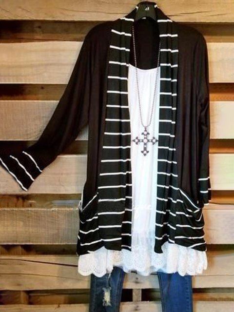 Black Striped Long Sleeve Cotton-Blend Outerwear