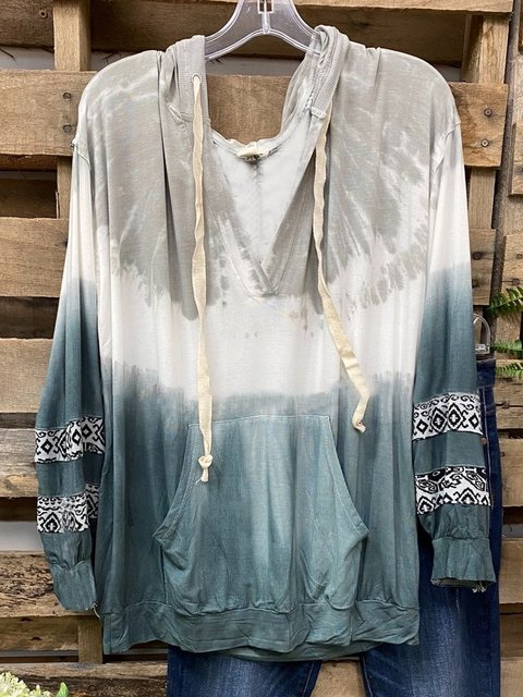 Green Long Sleeve Ombre/tie-Dye Shirts & Tops