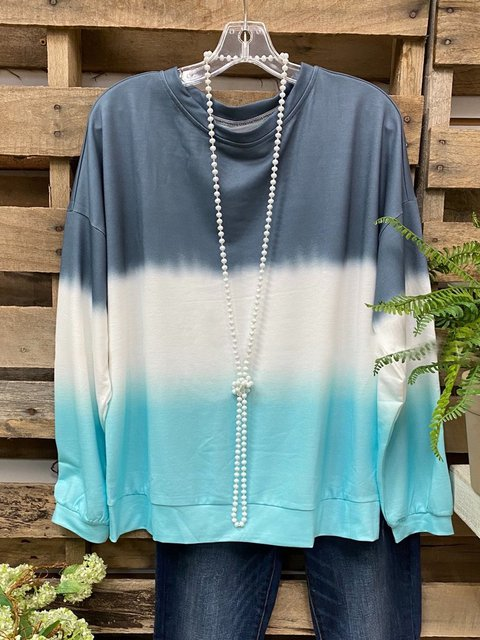 Blue Ombre/tie-Dye Long Sleeve Casual Shirts & Tops