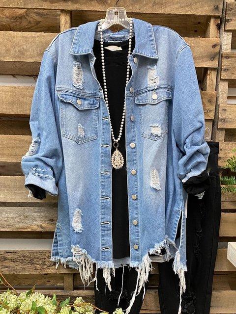 Blue Shirt Collar Plain Long Sleeve Denim Outerwear