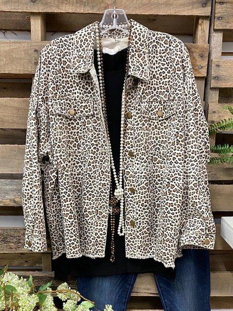 Leopard Shirt Collar Cotton-Blend Leopard Casual Jackets