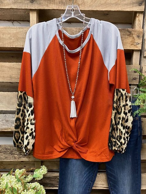 Orange Long Sleeve Crew Neck Shirts & Tops