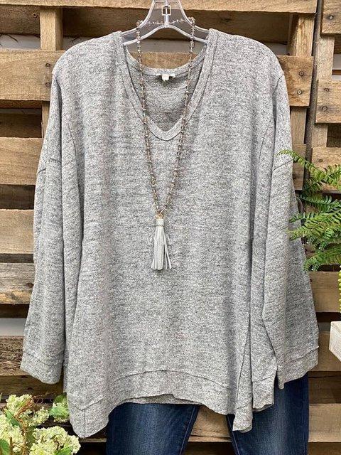 Gray Plain Casual Cotton-Blend Crew Neck Shirts & Tops
