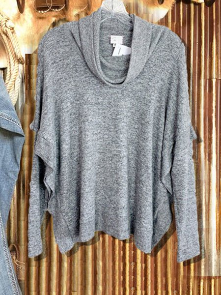 Gray Cotton-Blend Casual Cowl Neck Sweater