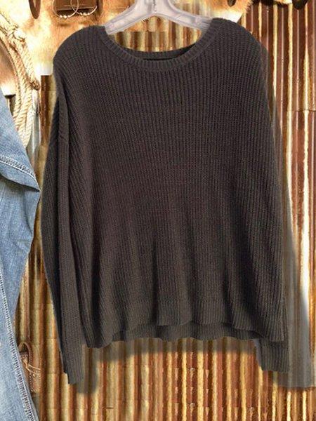 Gray Long Sleeve Cotton-Blend Sweater