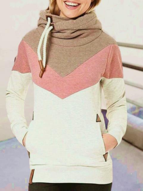 Beige Color-Block Cotton Hoodie Long Sleeve Sweatshirt