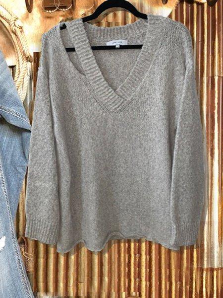 Gray Long Sleeve Shift Sweater