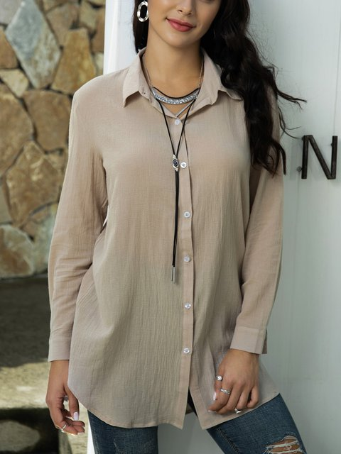Coffee Cotton-Blend Shawl Collar Long Sleeve Shirts & Tops
