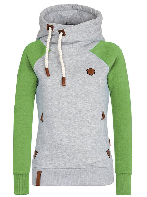 Green Long Sleeve Shift Hoodie Sweatshirt