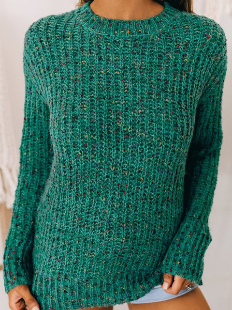 Green Plain Long Sleeve Knitted Sweater