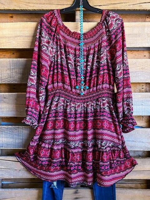 Multicolor Shift Tribal Long Sleeve Dresses