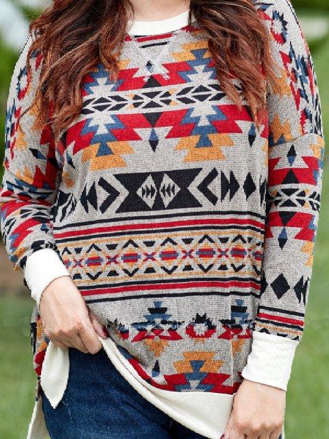 Multicolor Tribal Long Sleeve Shirts & Tops
