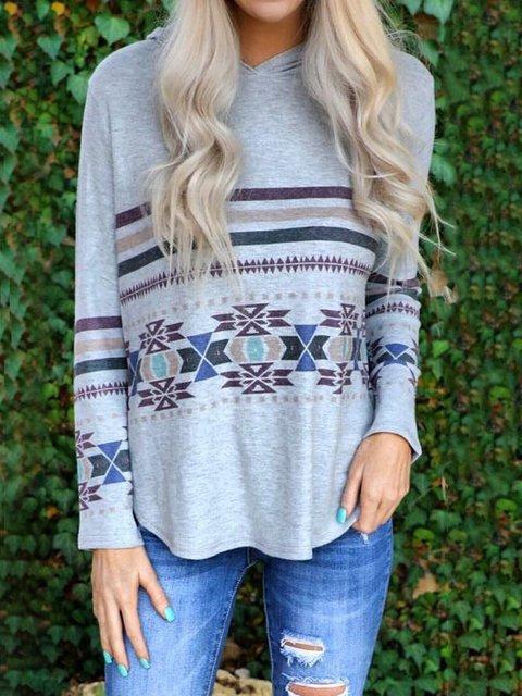 Ethnic Pattern Casual Hoodies Sweatshirt