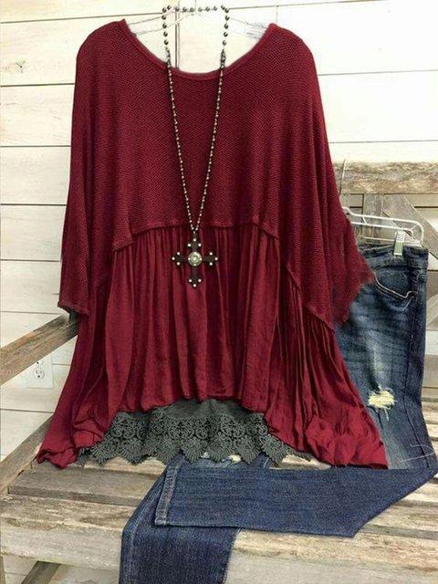Plus Size Floral Cotton-Blend Vintage Shirts & Tops