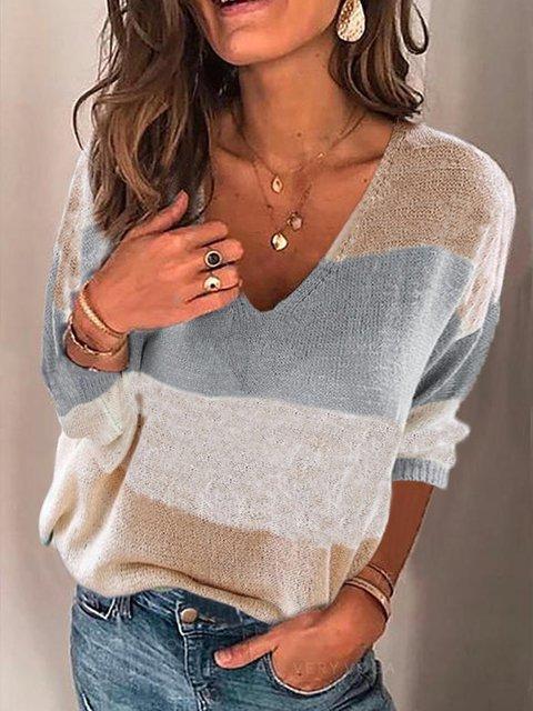 Gray Plain Casual Acrylic Sweater