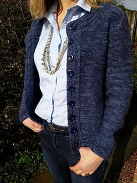 Blue Acrylic Long Sleeve Sweater