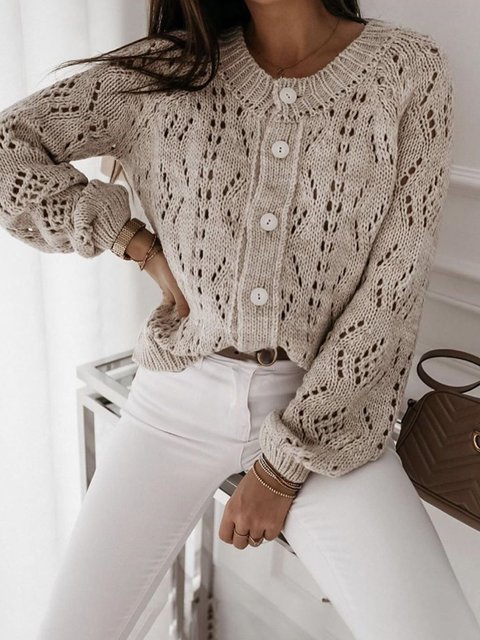 Apricot Acrylic Casual Sweater