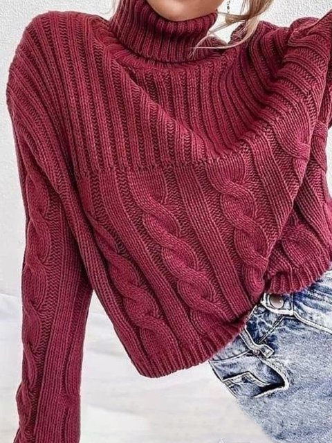 Red Plain Casual Sweater