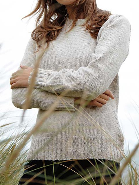 Apricot Long Sleeve Acrylic Plain Sweater