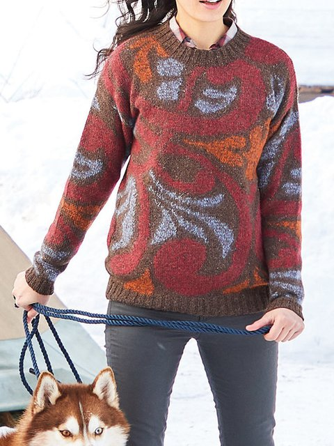 Red Crew Neck Long Sleeve Floral Acrylic Sweater