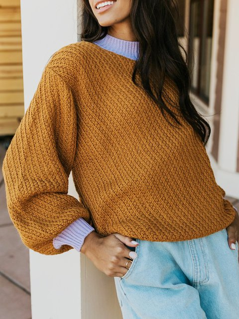 Yellow Crew Neck Acrylic Casual Sweater
