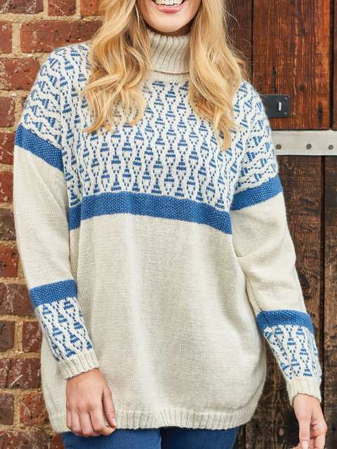 Blue Casual Turtleneck Long Sleeve Sweater