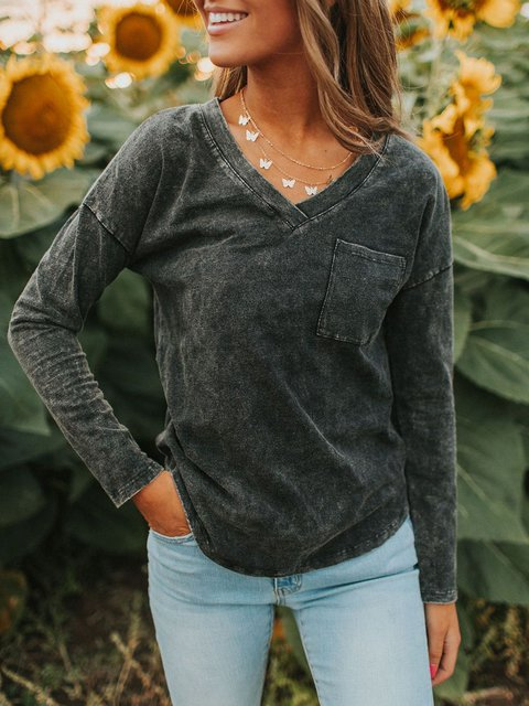 Black Casual Jersey V Neck Shirts & Tops