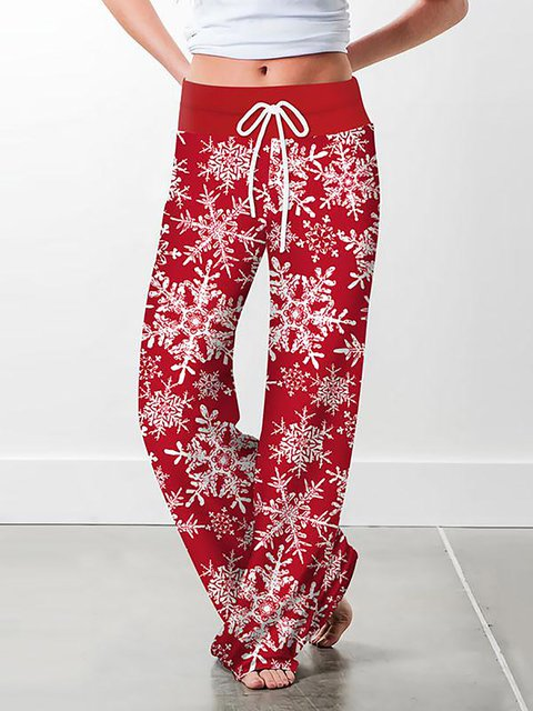 Christmas Floral Print Casual Loose Drawstring Wide-leg Trousers