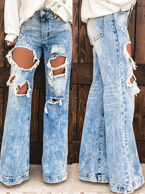 Cow Girl Distressed Ripped Jeans