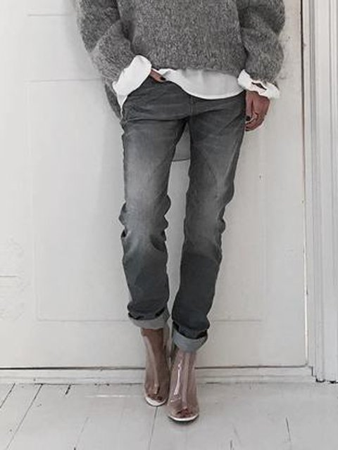 Gray Shift Denim Casual Pants Jeans