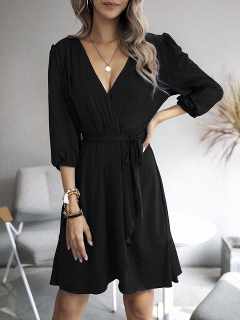 Black Plain V Neck Boho Dresses