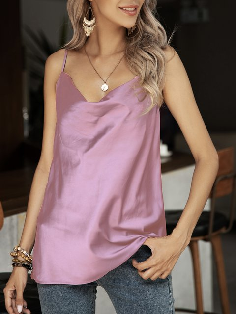 Pink Plain Silk-Satin Holiday Shirts & Tops