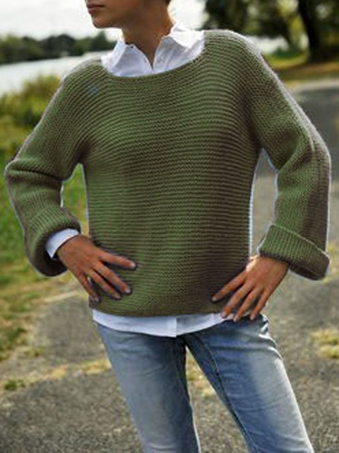 Green Crew Neck Casual Acrylic Sweater