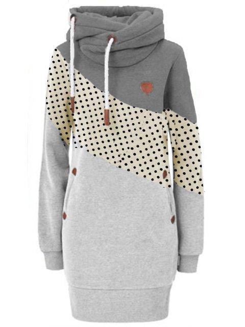 Gray Casual Long Sleeve Color-Block Hoodie Sweatshirt
