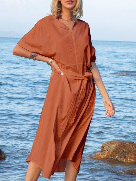 Orange Shift Half Sleeve Crew Neck Cotton Dresses
