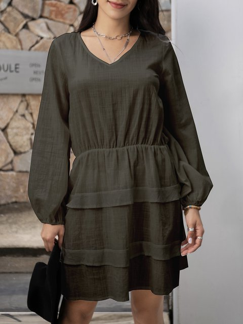 Green Long Sleeve Plain Cotton Dresses
