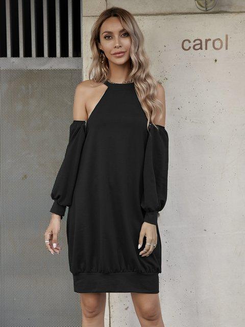 Black Long Sleeve Shift Plain Dresses