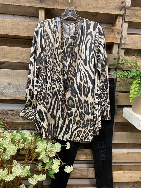 Round Neck Animal Print Long-sleeve Casual T-shirt