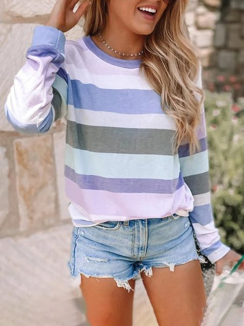 As Picture Striped Long Sleeve Crew Neck Casual Shirts & Tops