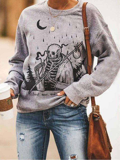 Gray Cotton-Blend Casual Skull Crew Neck Sweatshirt